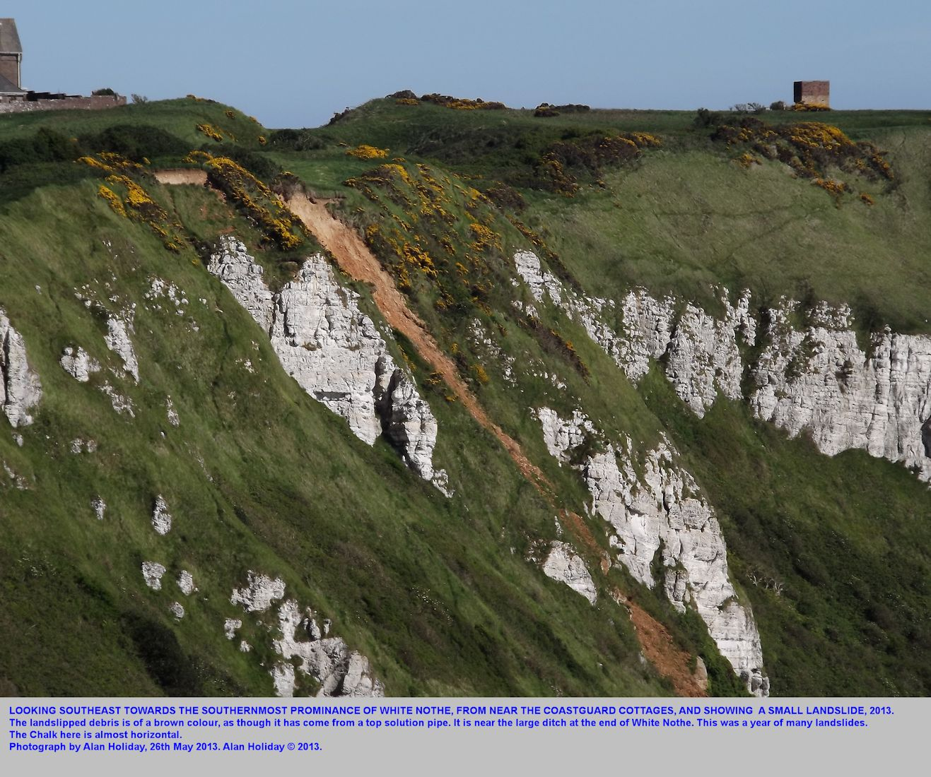 A small landslide near the souhern end of White Nothe, Dorset, 26th May, 2013