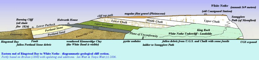 A diagrammatic geological cliff section from Burning Cliff to White Nothe, east of Weymouth, Dorset, based on Strahan (1898)