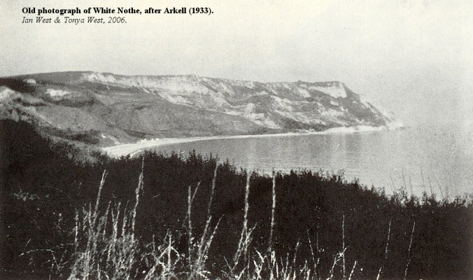 Old photograph of White Nothe, east of Weymouth, Dorset, Arkell, pre-1933