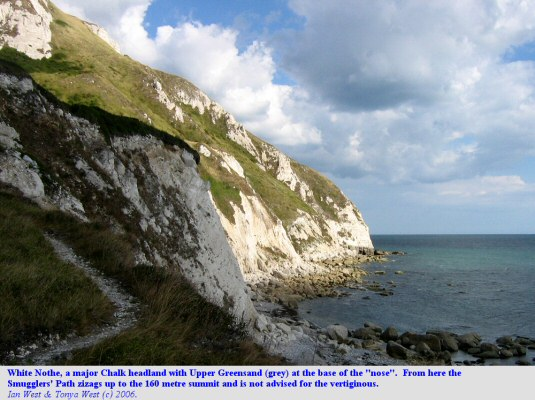 White Nose, a Dorset headland, with the base of the Smugglers Path shown