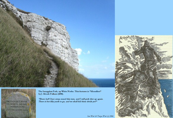 Smugglers Path on the Chalk Cliffs of White Nothe, east of Weymouth, Dorset