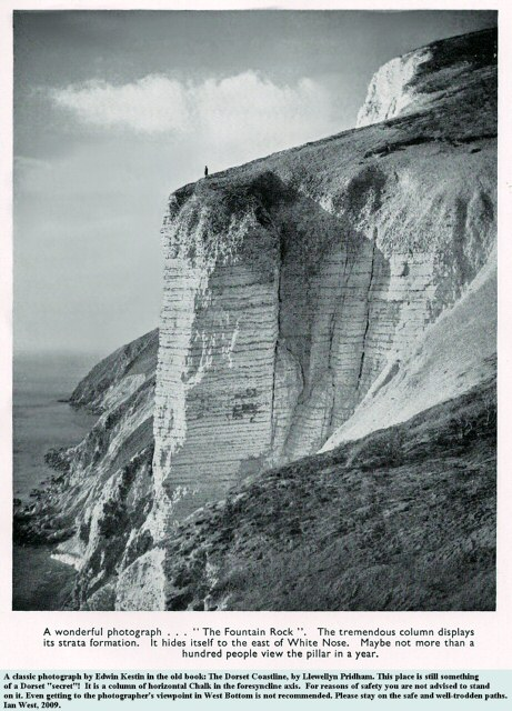 The Fountain Rock, east of White Nothe, is something of a Dorset secret, but it shows good horizonal Chalk at about the axis of the foresyncline, old photo from Kestin