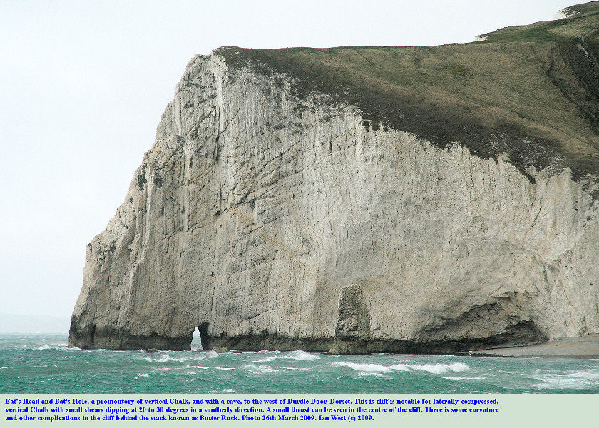 The Upper Chalk promontory of Bat's Head seen from the east, Dorset coast, west of Durdle Door, March 2009