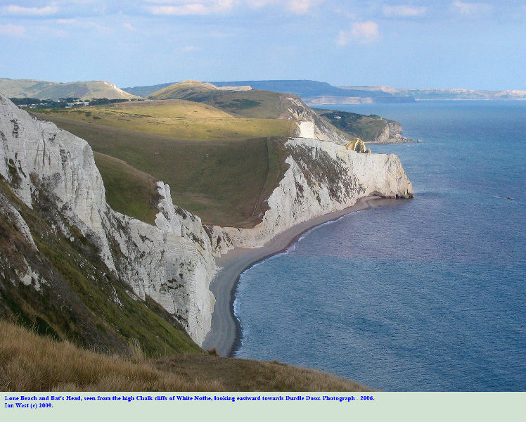 General view eastward to Bat's Head and Durdle Door, from the upper Chalk cliffs of White Nothe, Dorset, 2006