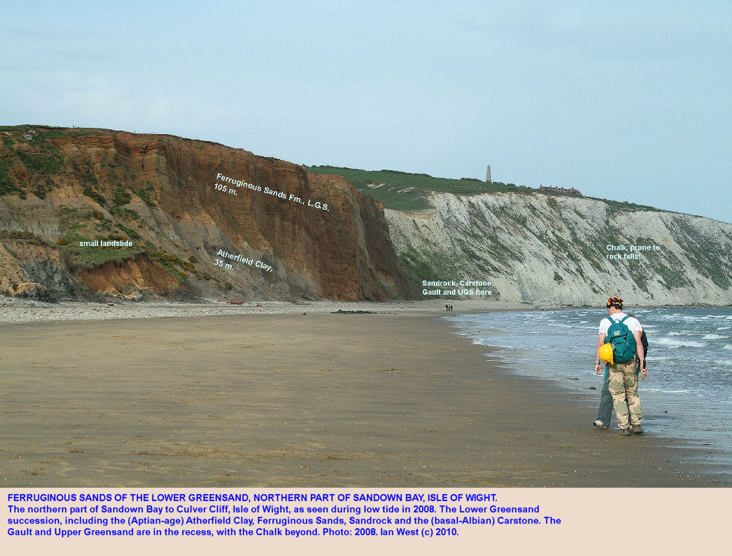 Lower Greensand, Atherfield Clay and Ferruginous Sands in northern Sandown Bay, Isle of Wight