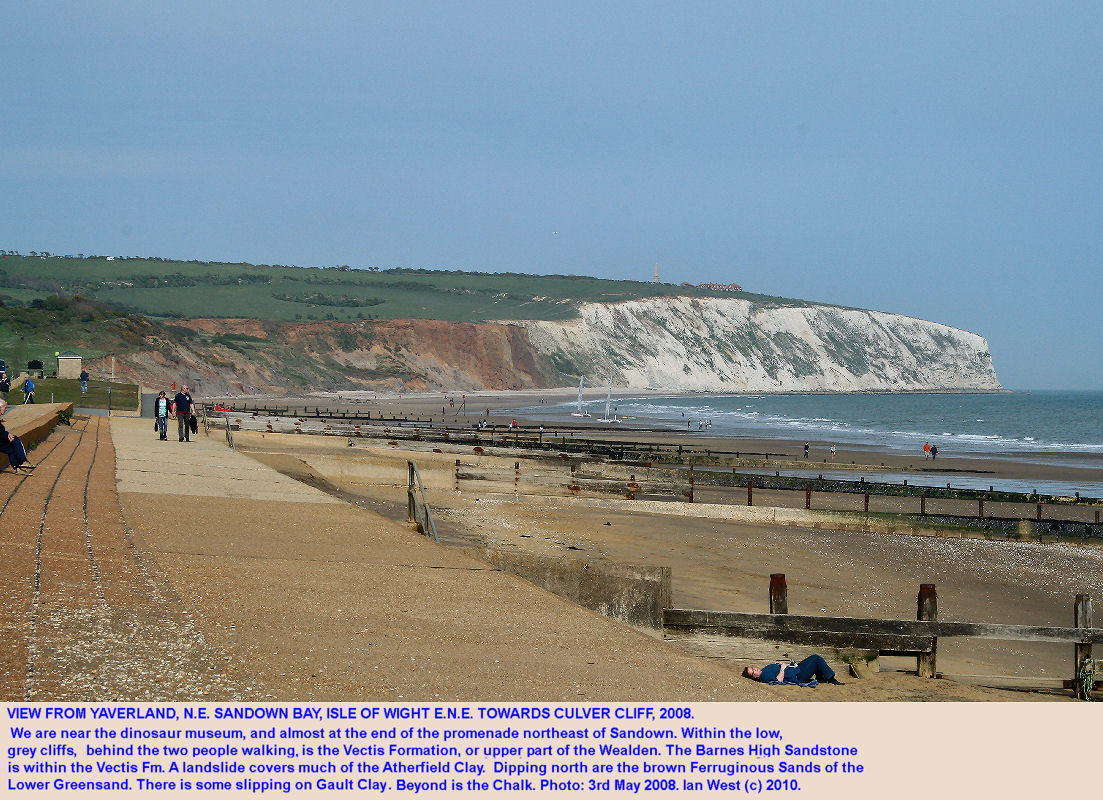 Cliff exposures of Cretaceous strata at Yaverland in northeastern Sandown Bay, Isle of Wight