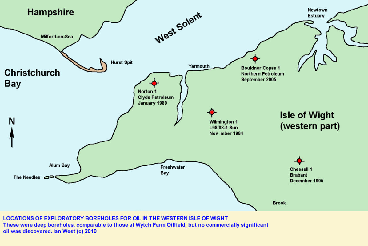 Location map for boreholes for oil in the western part of the Isle of Wight
