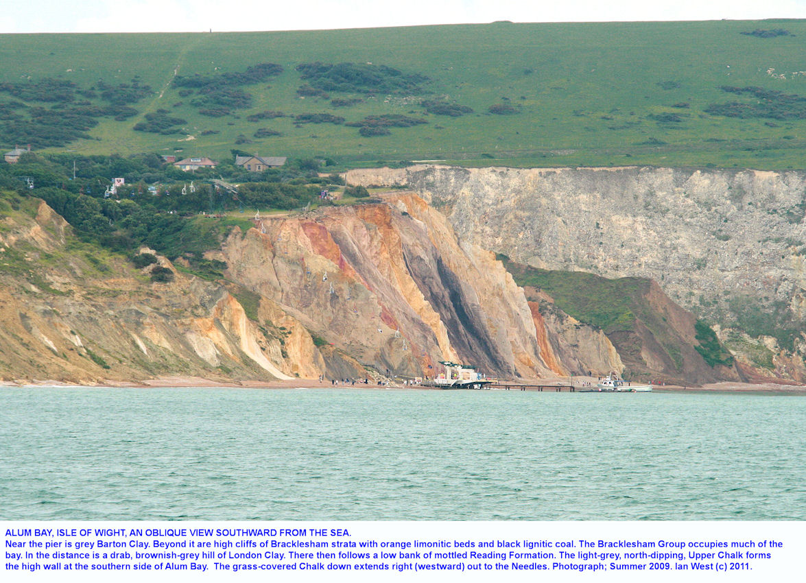An oblique view, generally southward of Alum Bay, Isle of Wight, seen from the sea in June 2009