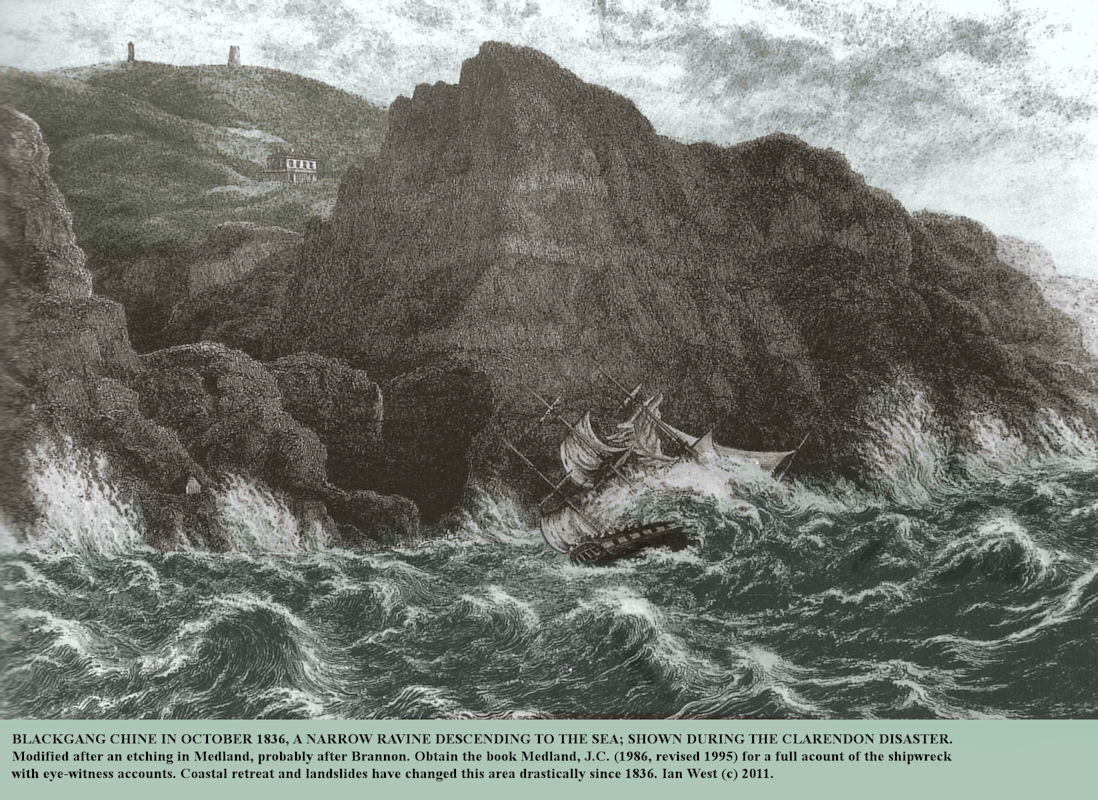 Blackgang Chine, Isle of Wight, in October, 1836, during the Clarendon disaster