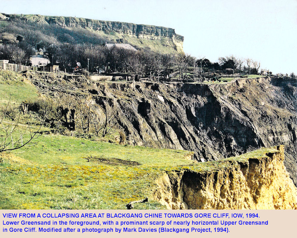 A view across a landslide at Blackgang Chine towards Gore Cliff, Isle of Wight, in 1994, photograph by Mark Davies, 1994