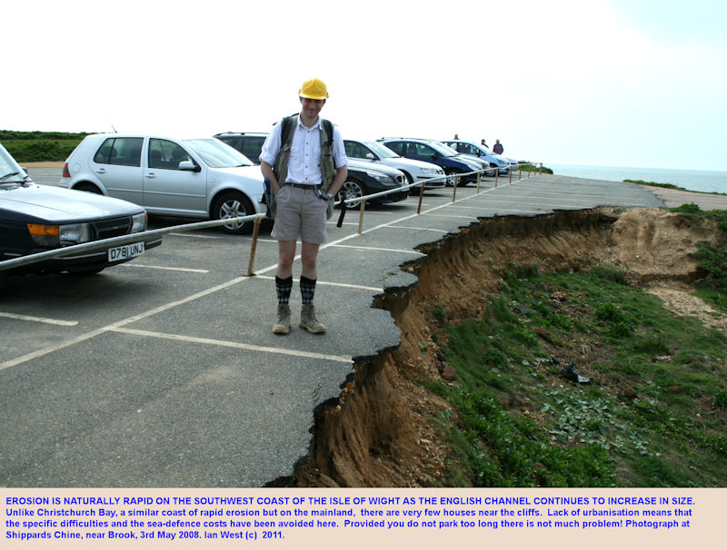 Coast erosion, southwest coast of the Isle of Wight - Shippards Chine car park, near Brook, 2008