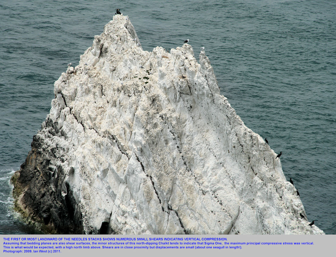 Details, close-up, including shear planes in the first Needle or stack at the Needles, Isle of Wight, 2009