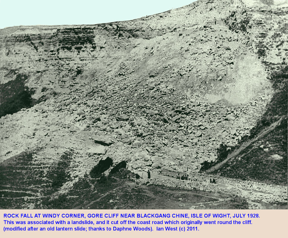 Rock fall at Windy Corner, Gore Cliff, Isle of Wight, cuts off the coast road in July 1928