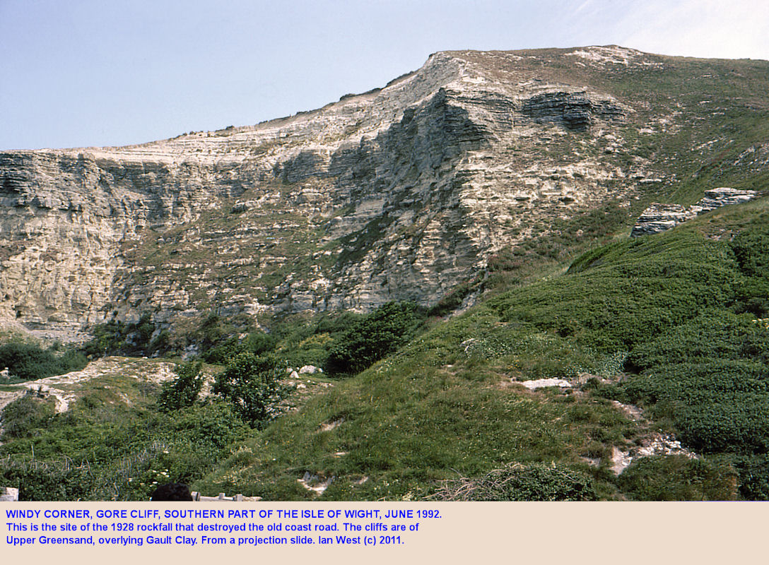 Upper Greensand scarp at Gore Cliff, southern part of the Isle of Wight, in 1992