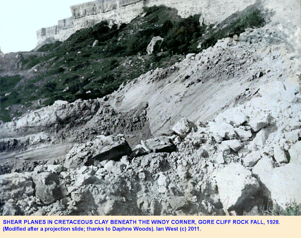 Shear planes or slip planes in Cretaceous clay beneath the 1928 rock fall at Windy Corner, Gore Cliff, Isle of Wight