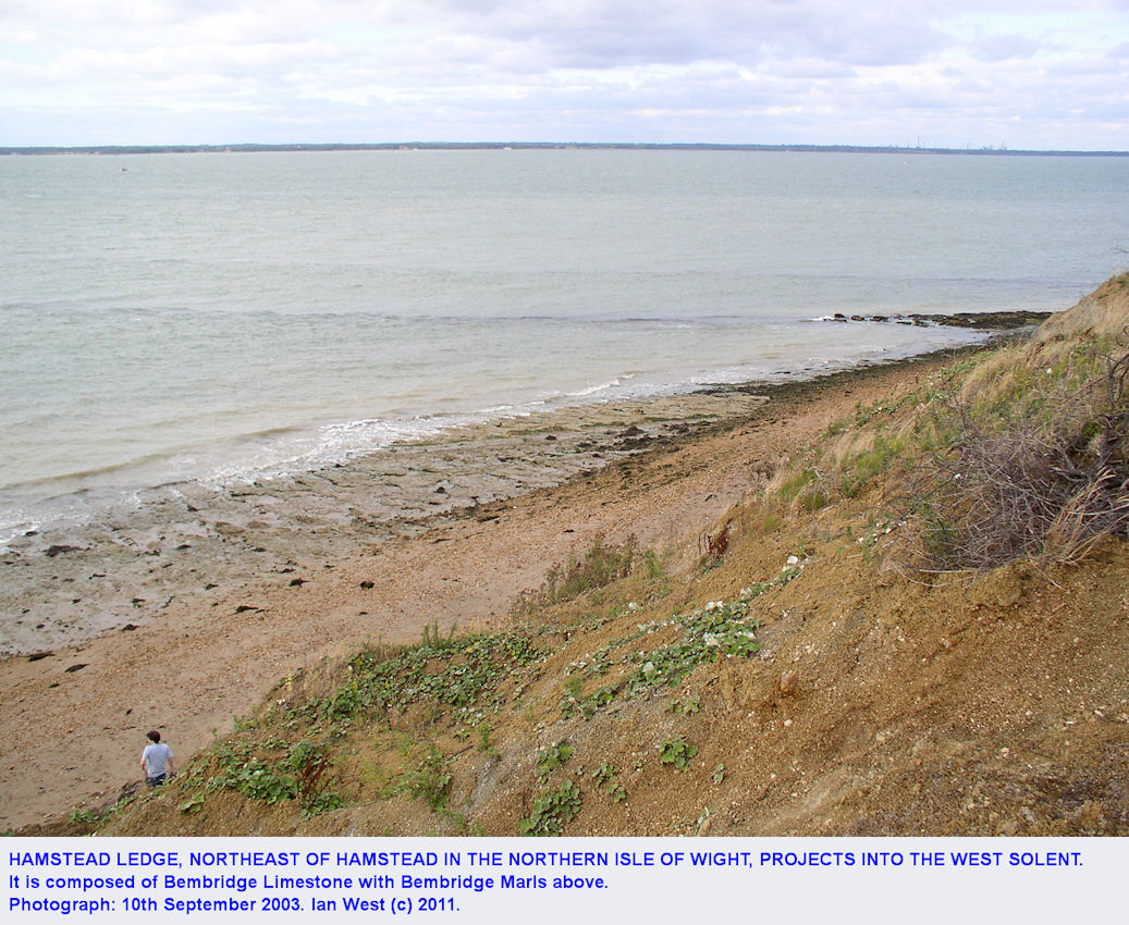 Hamstead Ledge, looking down from Hamstead Cliff, Isle of Wight, September 2003