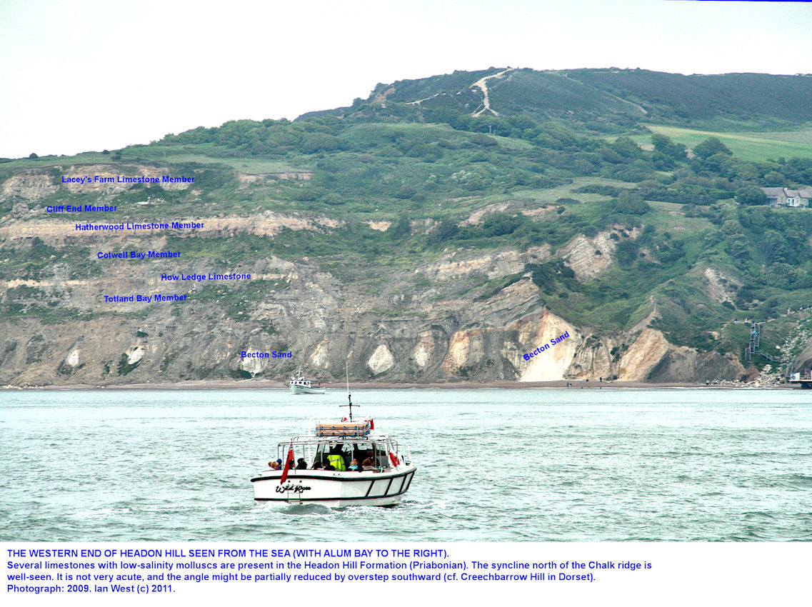 The Headon Hill Formation of the Solent Group at the western end of Headon Hill, Isle of Wight, seen from the sea, 2009