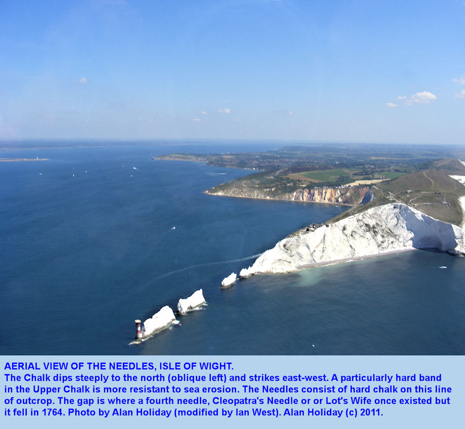 Aerial view of the Needles, Isle of Wight, by Alan Holiday, June 2011