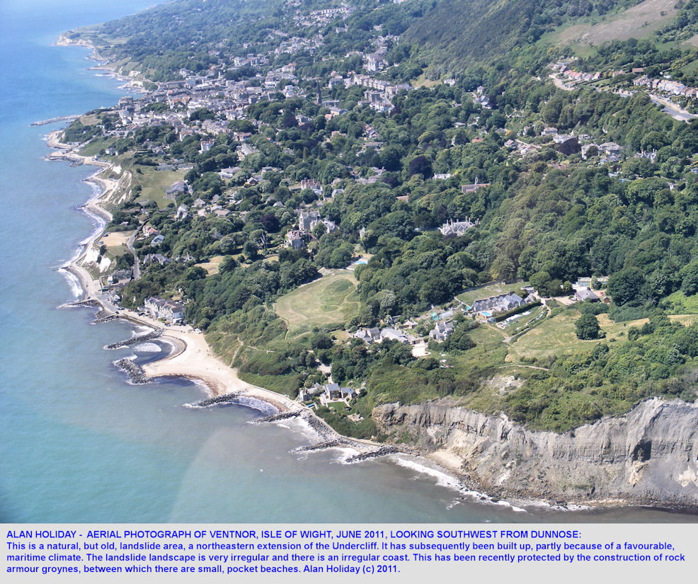 An oblique aerial view of Ventnor, Isle of Wight, June 2011, photograph by Alan Holiday