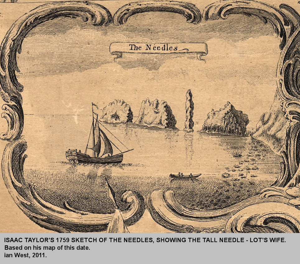 Isaac Taylor's 1759 sketch of the Needles, Isle of Wight, showing the narrow needle or stack, known as Lot's Wife