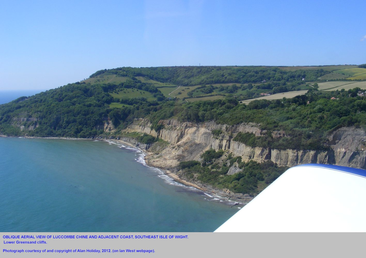 Oblique aerial view of the Lower Greensand cliffs at Luccombe Chine, Isle of Wight, and adjacent area, 2011