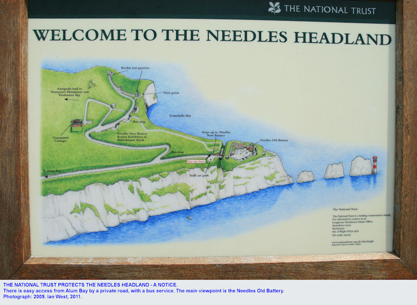 National Trust notice at the Needles, Isle of Wight