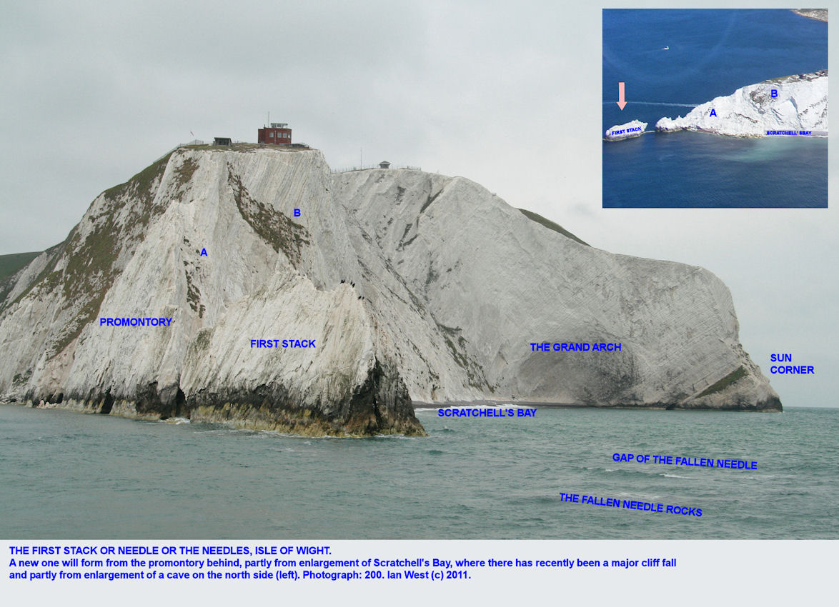 The First Stack of the Needles, Isle of Wight, shown obliquely in relation to the narrow arrete and promontory in front of the Old Battery, 10th June 2009