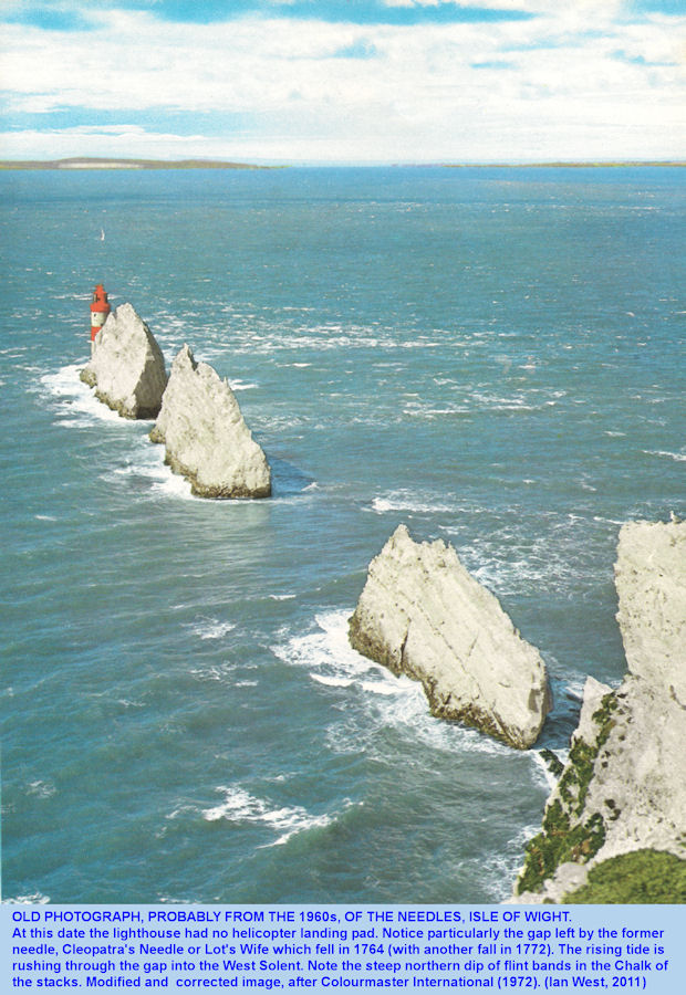 An old colour illustration of the Needles, Isle of Wight, probably from the 1960s, and showing the gap left by the fall of Cleopatra' Needle or Lot's Wife in 1764