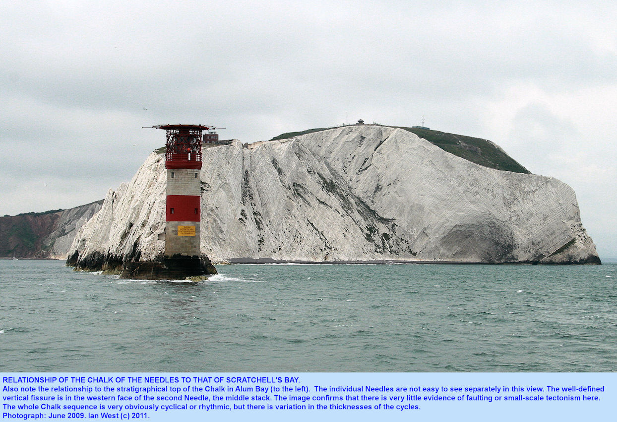 View eastward from near the Lighthouse, Needles, Isle of Wight, to show relationship of the structures of the stacks to that of the cliffs of Scratchell's Bay, 2009