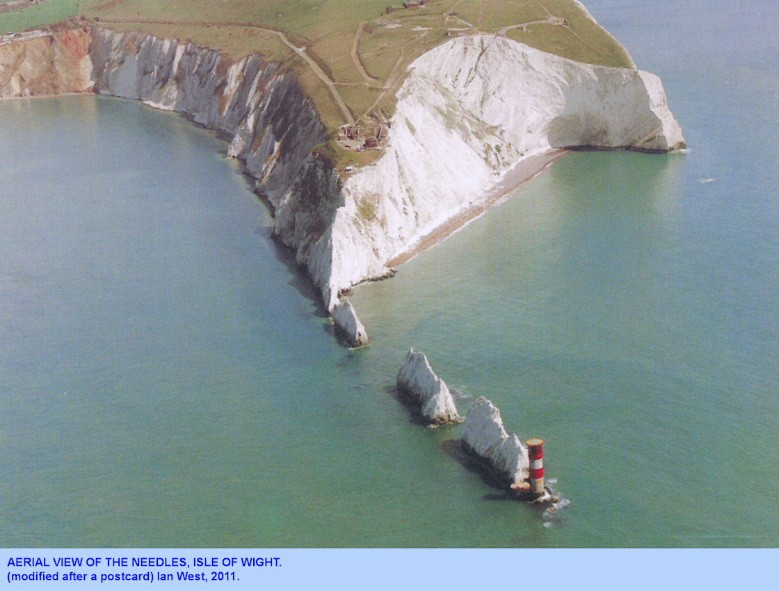 The Needles, Isle of Wight, an aerial view