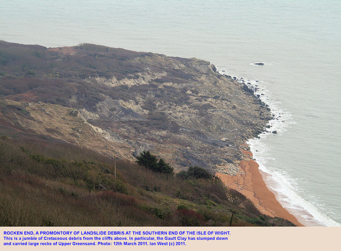 Rocken End, a promontory of Cretaceous landslide debris at the southern end of the Isle of Wight, 2011