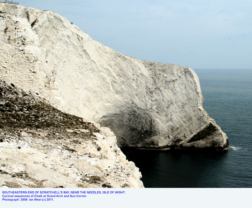 Southern part of Scratchell's Bay, near the Needles, Isle of Wight, showing cyclicity in the Chalk, 2009