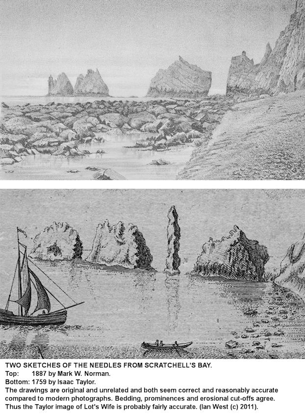 The Needles, Isle of Wight, in old drawings, one of these showing Lot's Wife, a tall needle-like stack