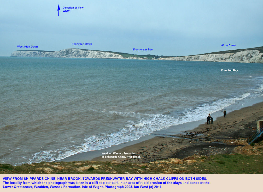 View across Compton Bay, Isle of Wight, to Freshwater Bay with Chalk cliffs on both sides, 2008