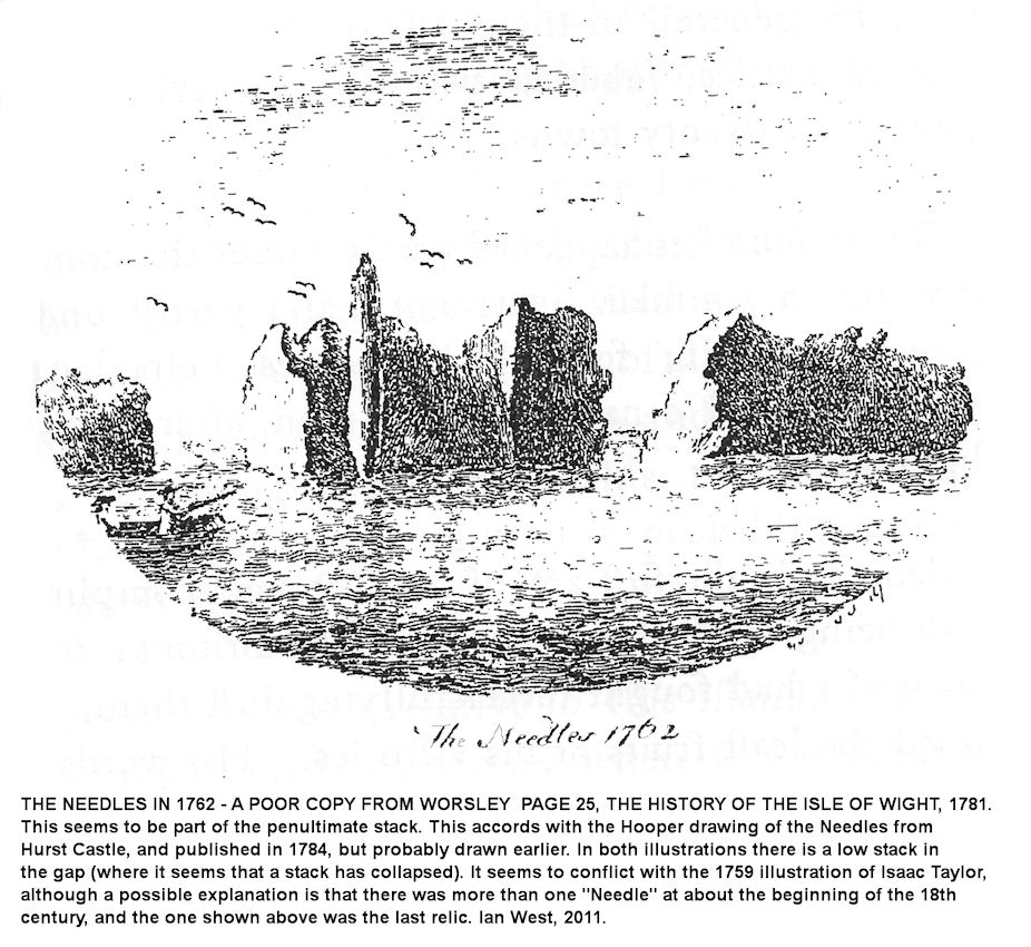 Sir Richard Worsley's etching of a needle at the penultimate stack in 1762, the Needles, Isle of Wight