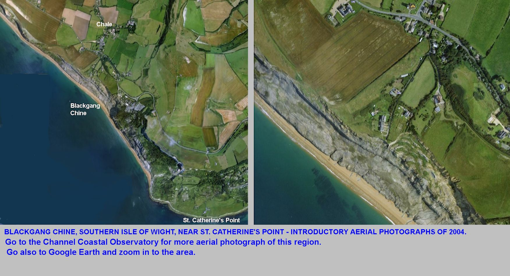 Introductory aerial photographs of Blackgang Chine, Isle of Wight, in 2004
