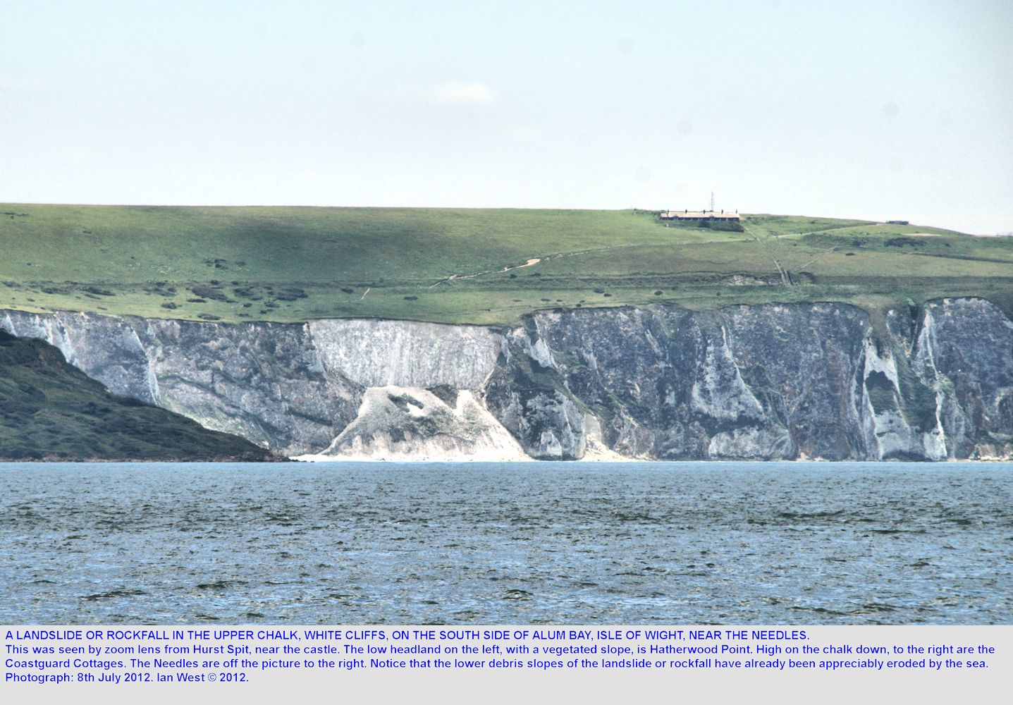 A landslide or rock-fall in the Chalk on the south side of Alum Bay, near the Needles, Isle of Wight, as seen from Hurst Spit in July 2012