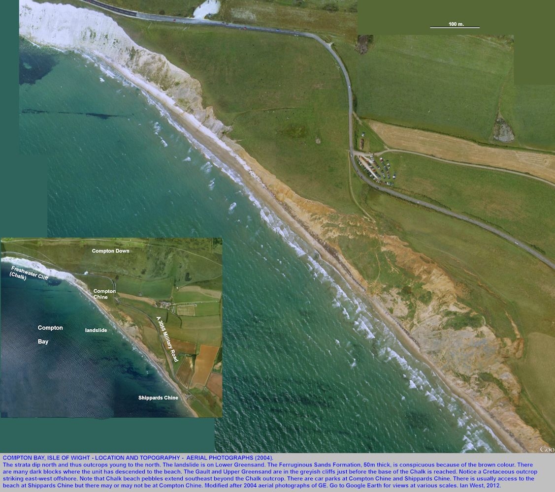 Aerial views of Compton Bay, Isle of Wight, 2004
