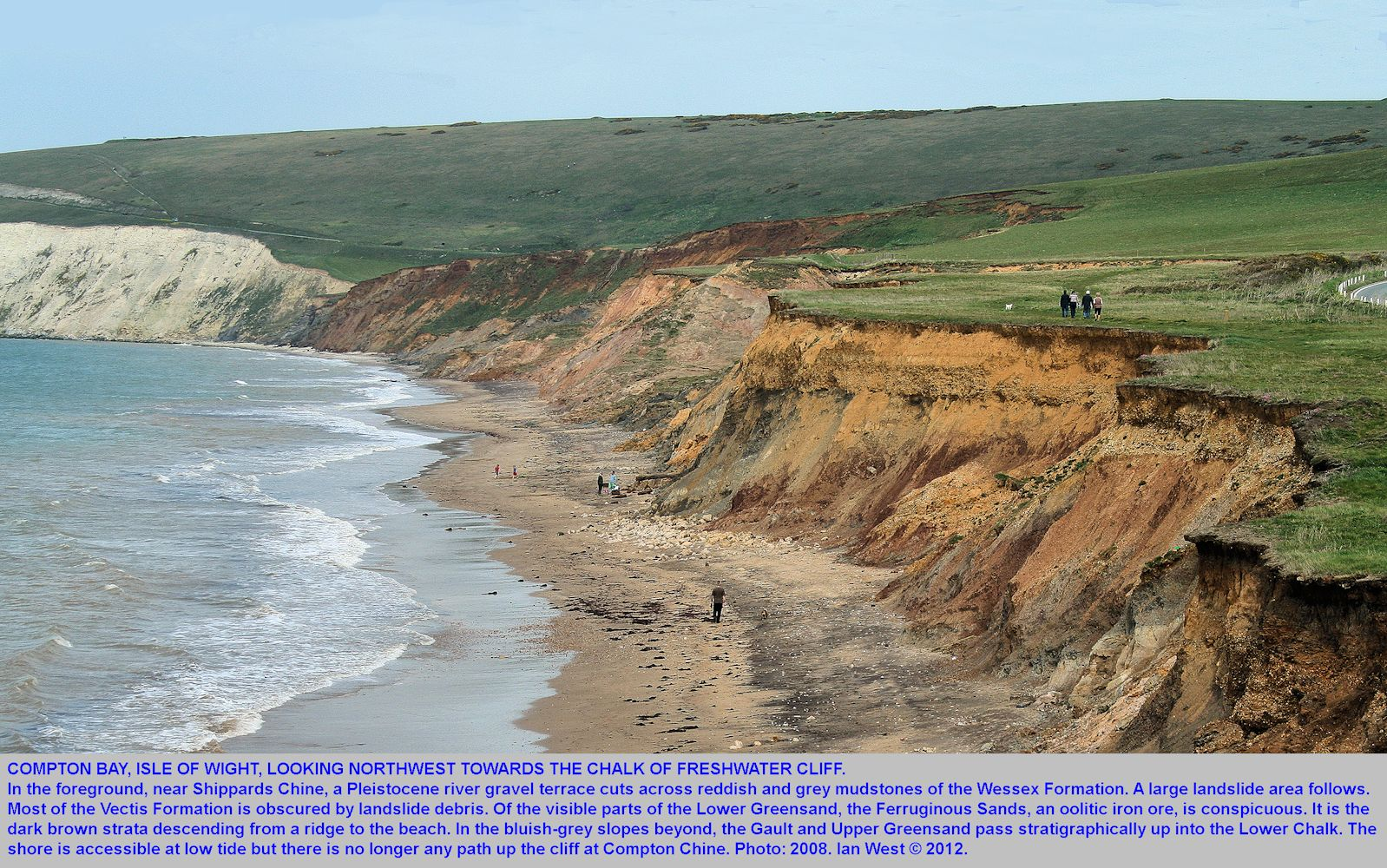 Cliffs of Cretaceous strata, and a landslide in Compton Bay, Isle of Wight, 2008