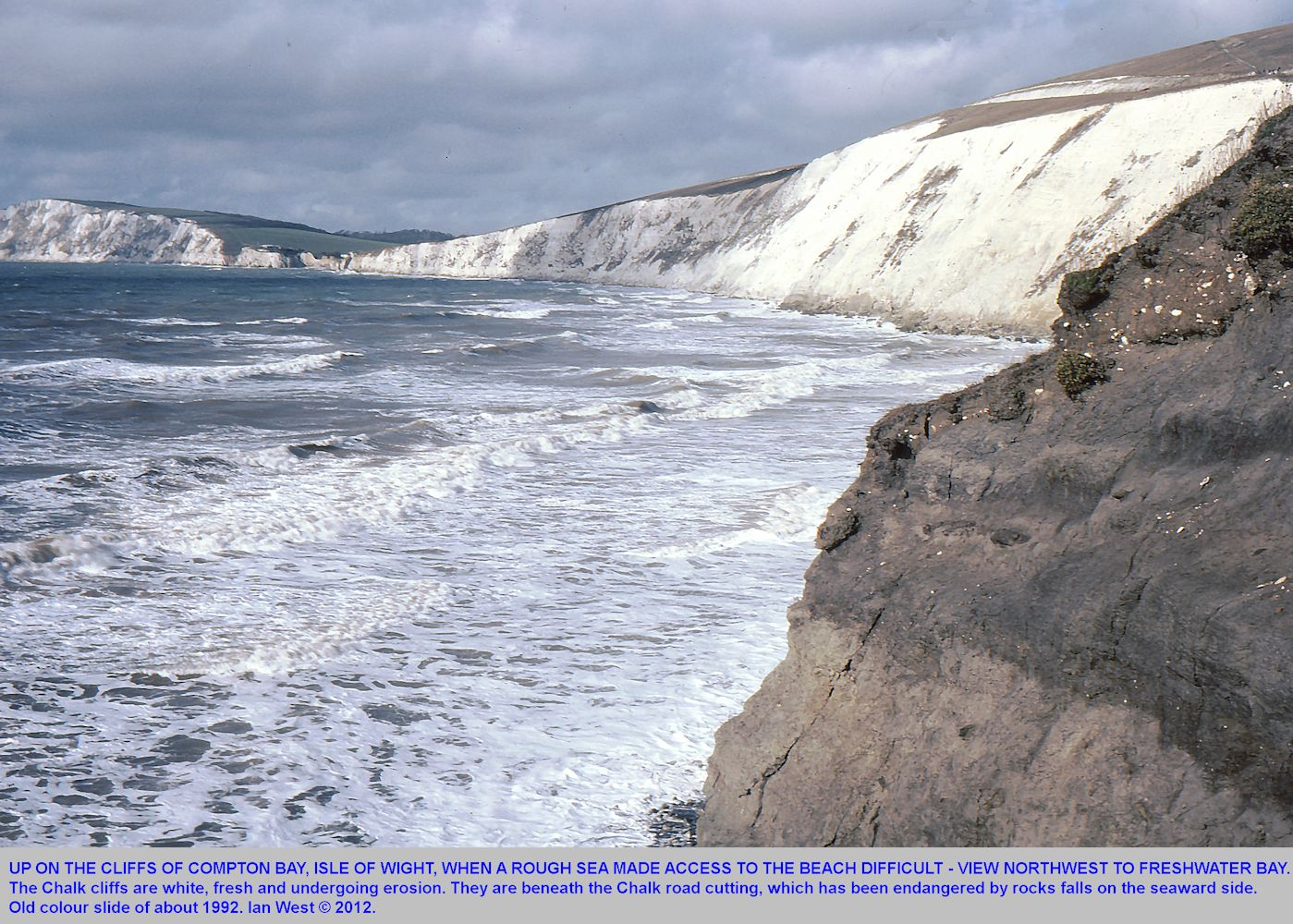 Chalk cliffs at Compton Bay, Isle of Wight, in the early 1990s