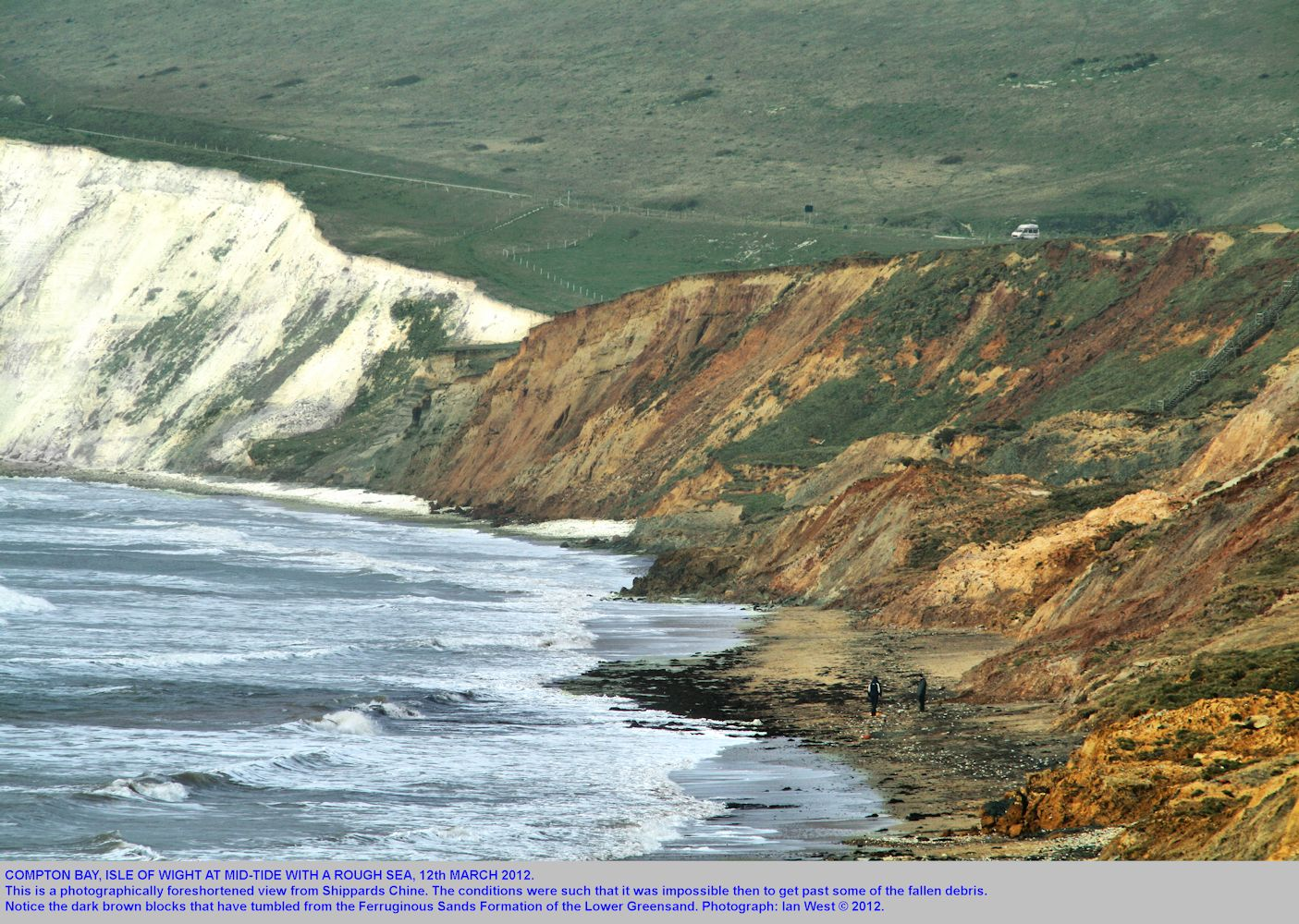 Compton Bay, Isle of Wight, with a rough sea, March 12th 2012