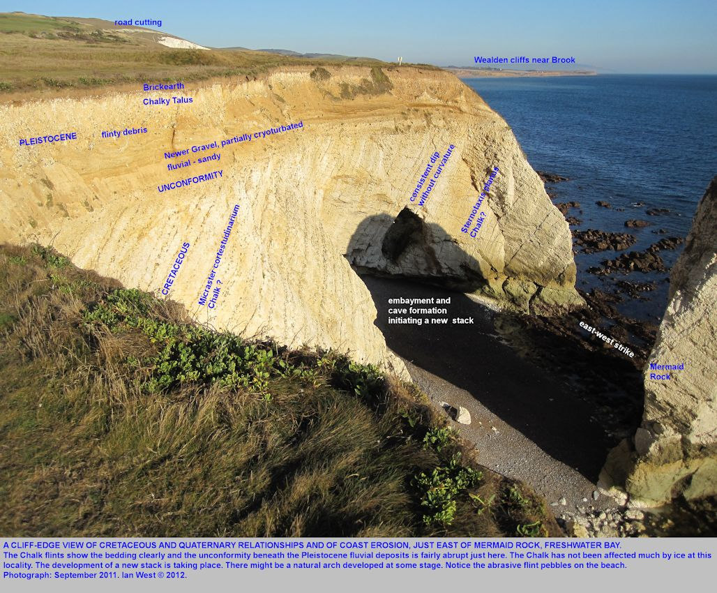 A cliff-top view of the cliff erosion just east of Mermaid Rock, Freshwater Bay, Isle of Wight, 2011