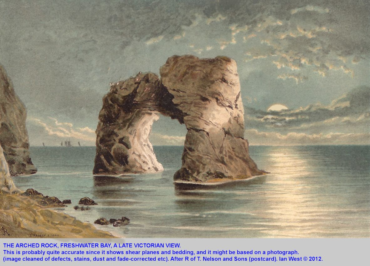 A late Victorian view of the Arched Rock, a stack at Freshwater Bay, Isle of Wight