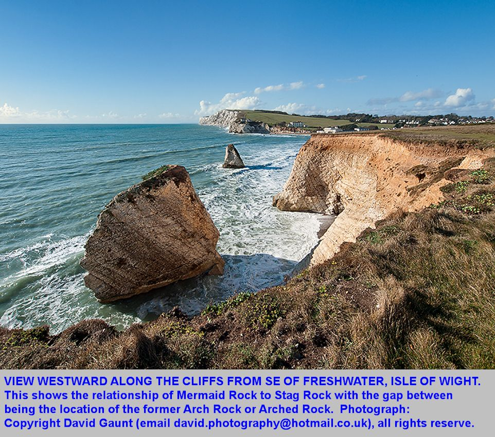 A westward view of the stacks southeast of Freshwater Bay, Isle of Wight, photographed by David Gaunt