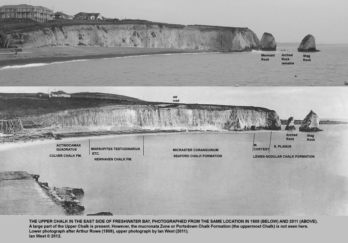 The eastern Chalk cliffs of Freshwater Bay, Isle of Wight in 1908 and 2011, showing loss of the Arched Rock
