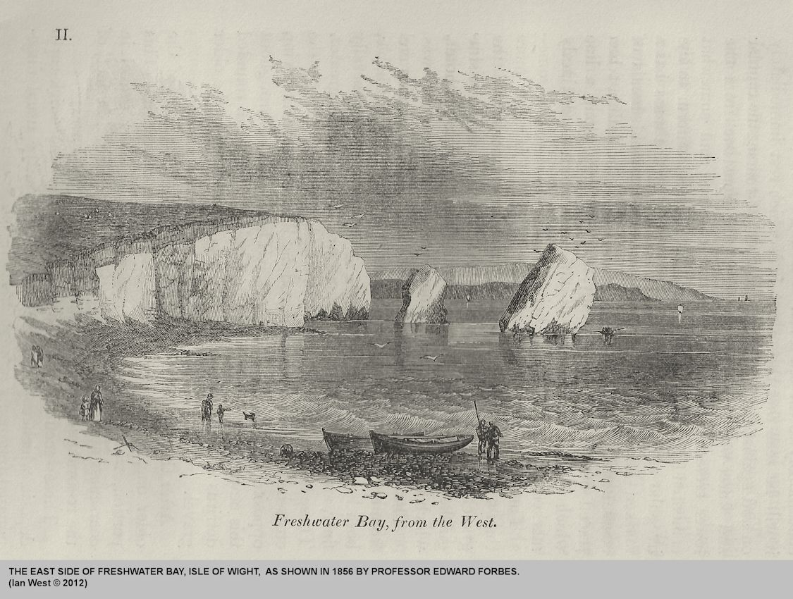 The stacks at Freshwater Bay, Isle of Wight, as shown by Forbes in 1856
