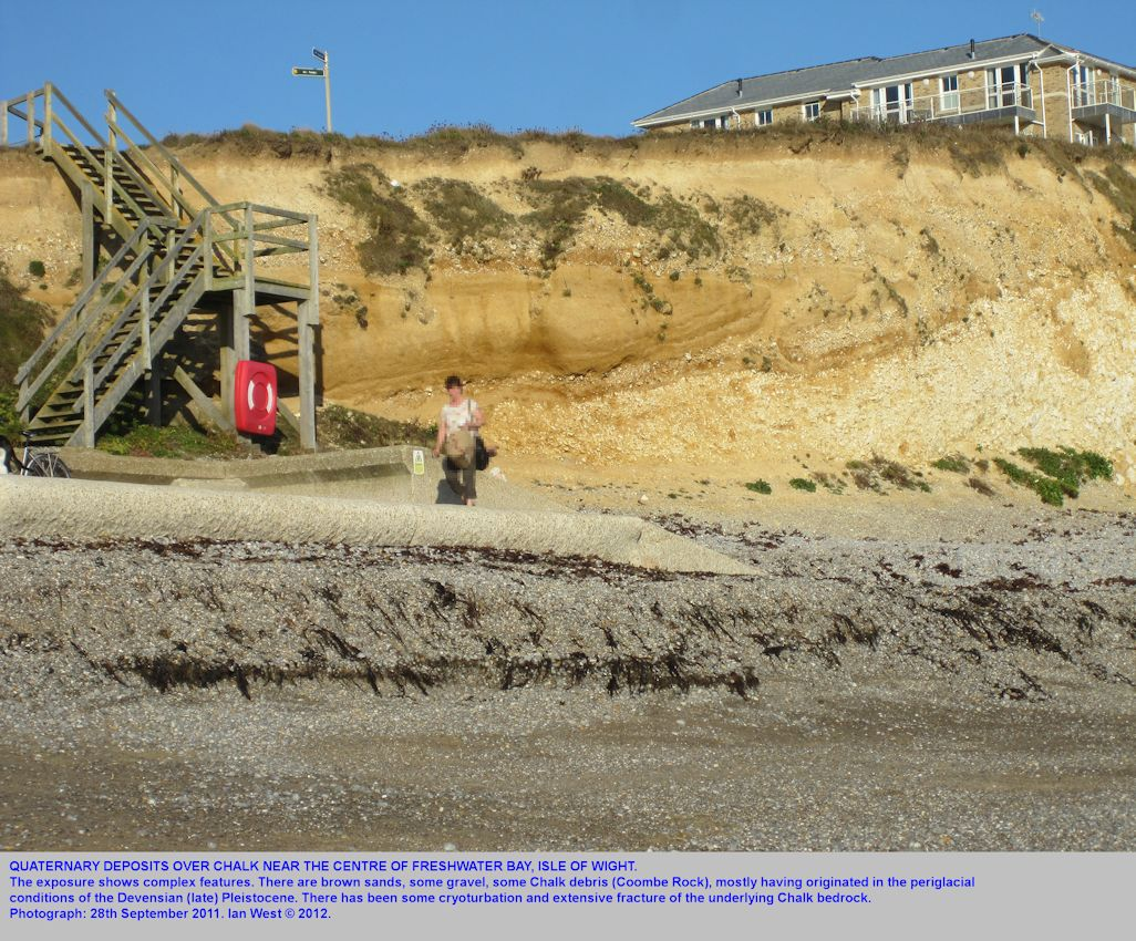 Quaternary deposits at some steps, east of the centre of Freshwater Bay, Isle of Wight, 28th September 2011
