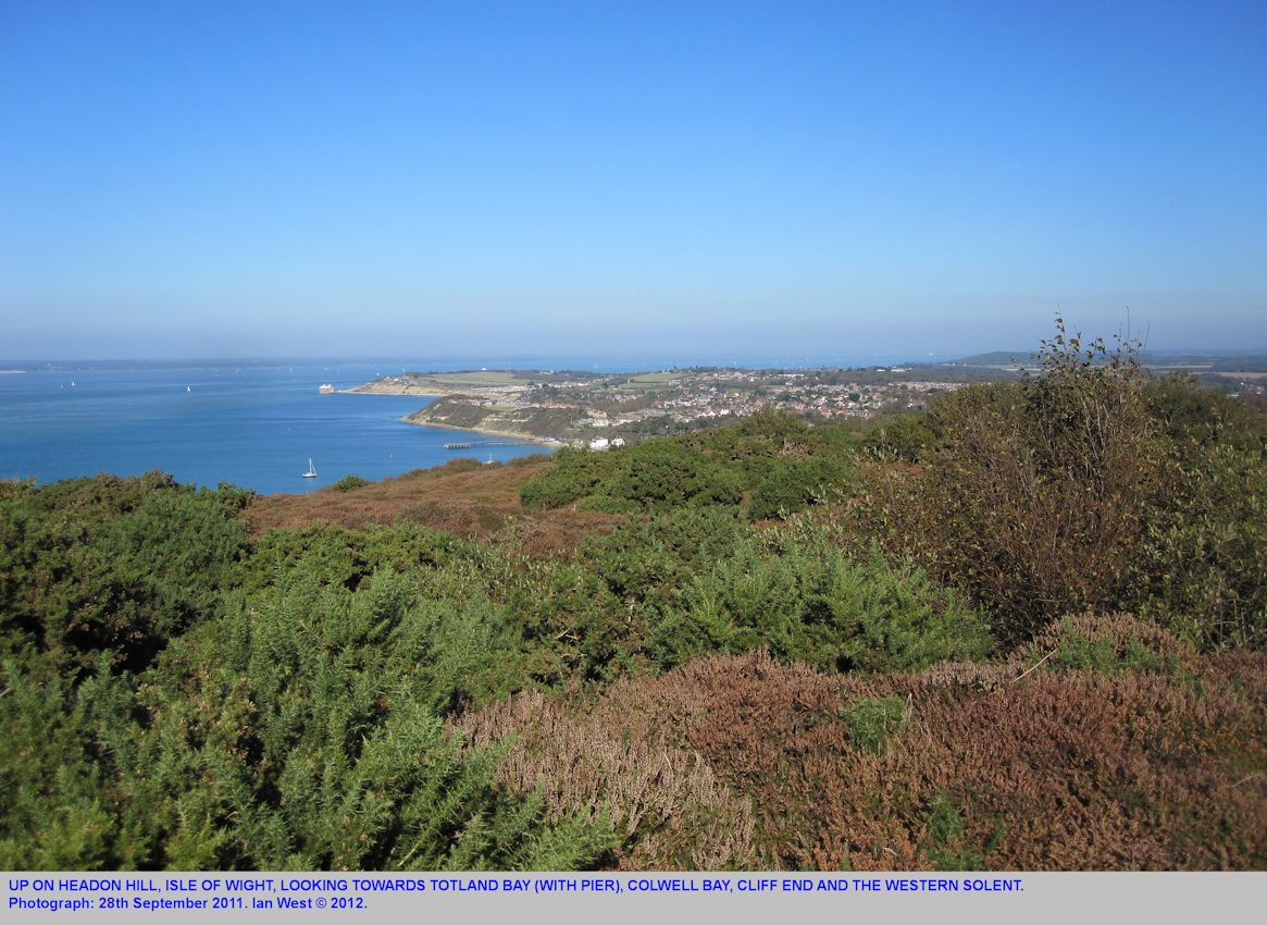 Up on Headon Hill, looking towards the West Solent, with Totland Bay, Colwell Bay and Cliff End in the middle distance, Isle of Wight, 28th September, 2012