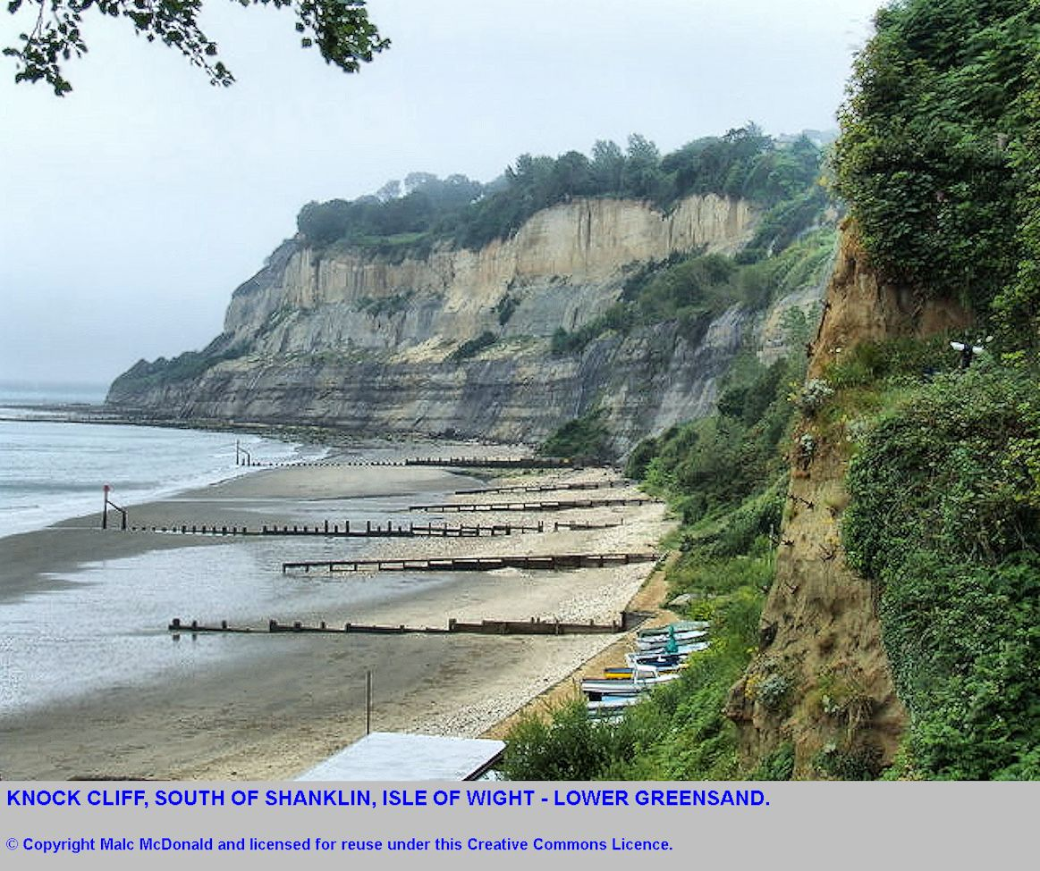 Knock Cliff south of Shanklin, Isle of Wight, seen from high on a cliff