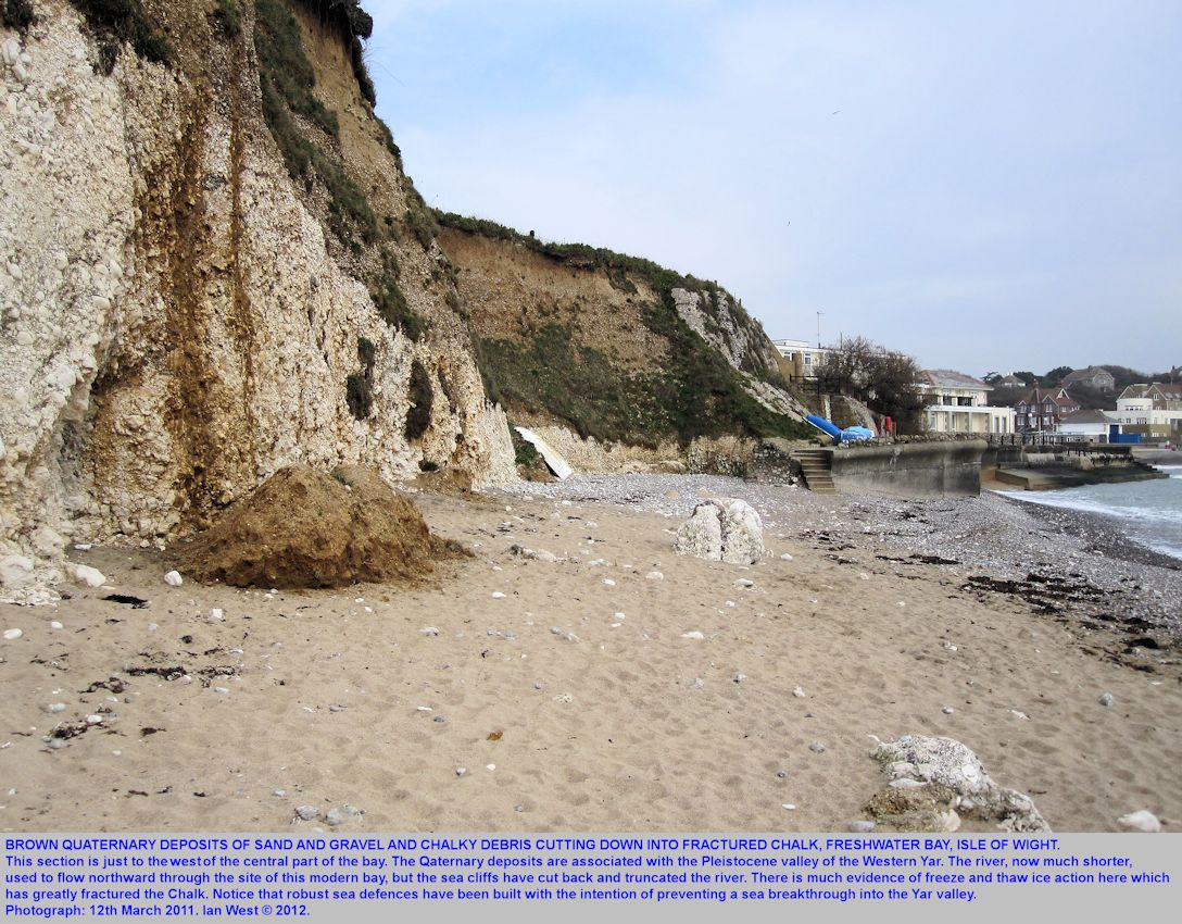 Brown Quaternary sand and gravel cut down into fractured Chalk, just west of the centre of Freshwater Bay, Isle of Wight, March 2011
